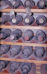 Fine bottles quietly performing their magic in the dust of a cellar dating back to Roman times