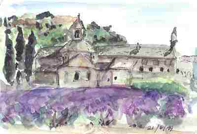 Ancient Cistercian abbey and lavender field