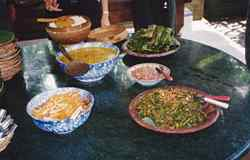 A balinese feast rich in spicy flavours - prepared by the group during their cooking class