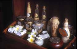 Essential oils, spices, herbs and other natural products used during a massage
