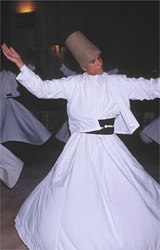 Sufi holy men, called dirvishes performing the whirling Sema devotion